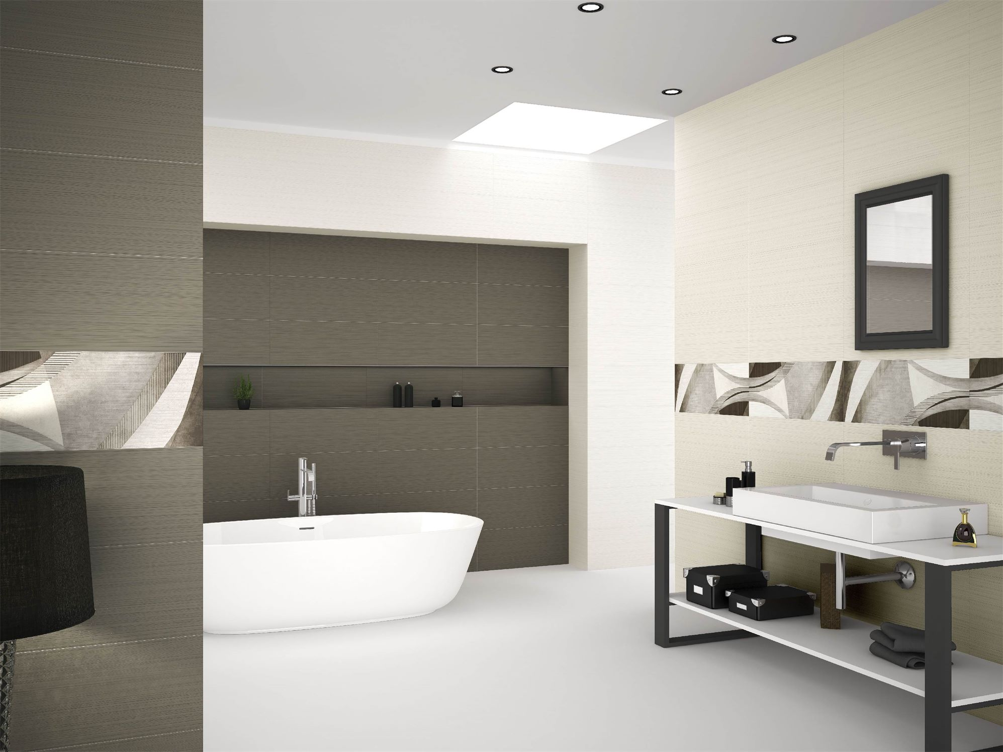 White and Dark Bathroom Design
