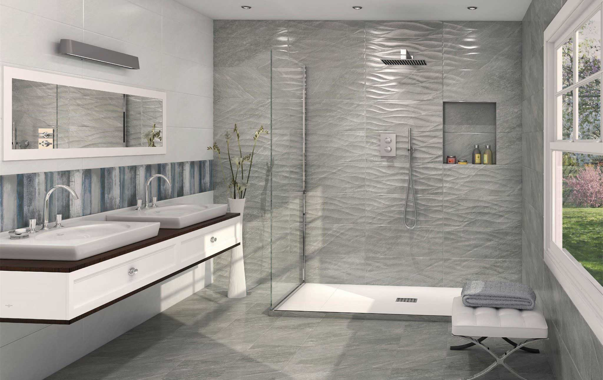Grey and white bathroom with array of beautiful tiles