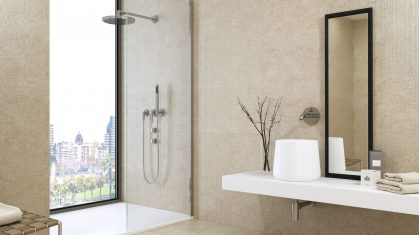 Beige bathroom with Walk in Shower