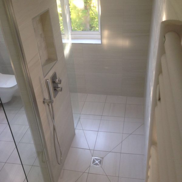 Cream Walk in Shower with Towel Rail