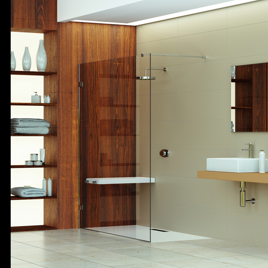 Walk in Shower with Wooden Stye Wall