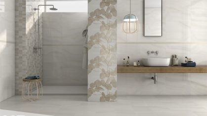 Walk in Shower with White Sink and Agatha Tiles