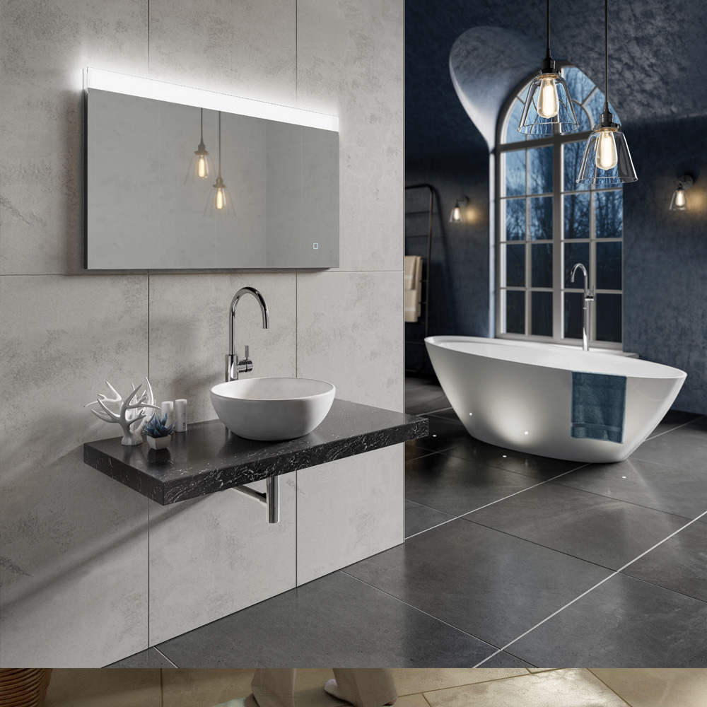 Dark Themes Bathroom with Free Standing White Bath