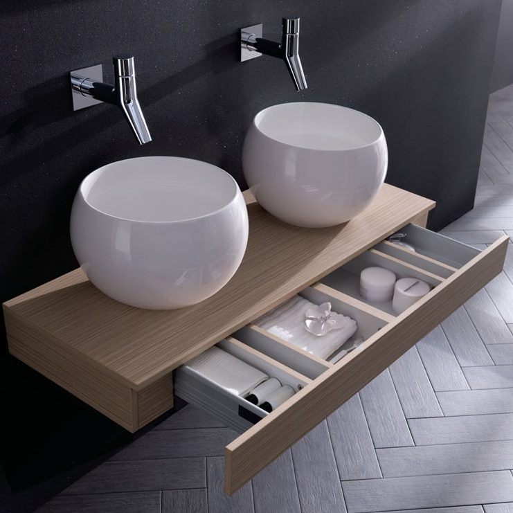Large Double Round Bathroom Sinks