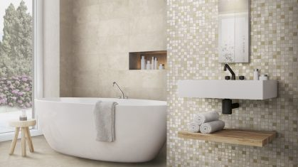 Side View of Bathroom with Cream Wall and Floor Tiles