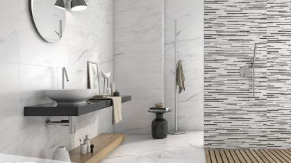 Bianco tiles in Walk in Shower with White Sink