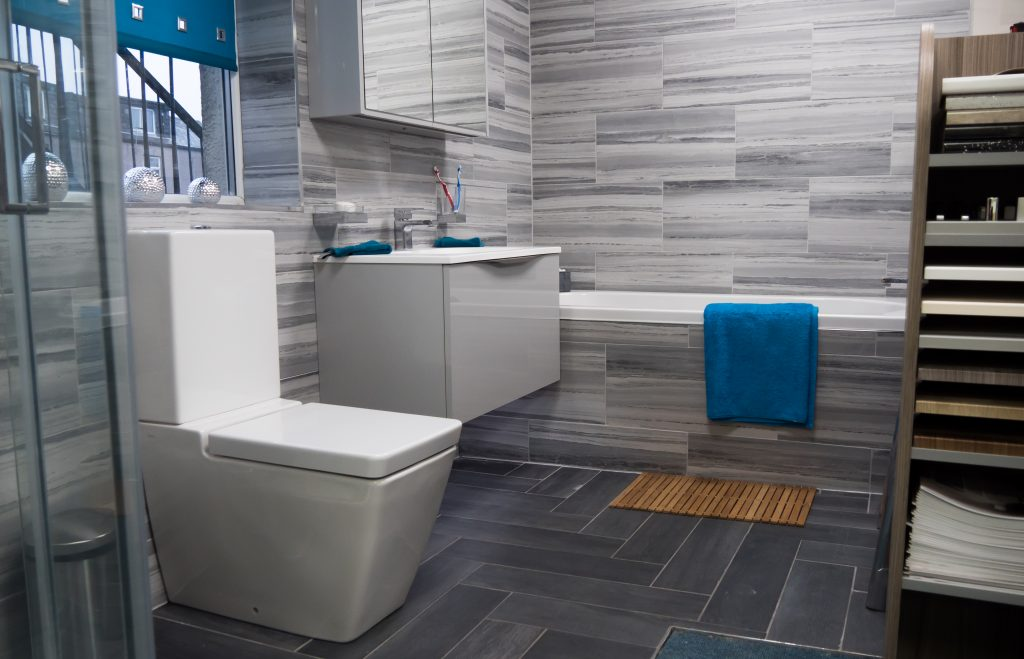Grey Tiled Bathroom with Separate Shower and Bath