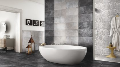 Charcoal Tiled Bathroom Floor and Wall with Open Large Bath