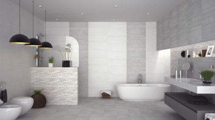 White and Grey Large and Open Style Bathroom