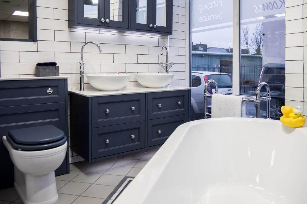 Navy and White Style Showroom Bathroom