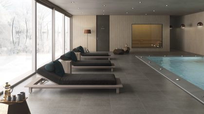Olive Floor Tiles with Dark Brown Bed Loungers