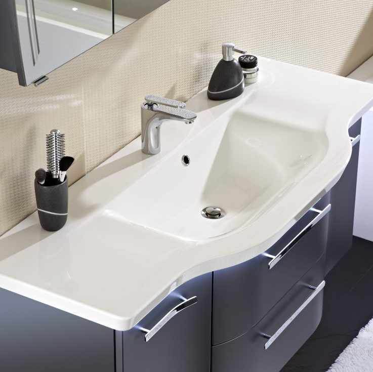 White Curved Sink with Navy Draws