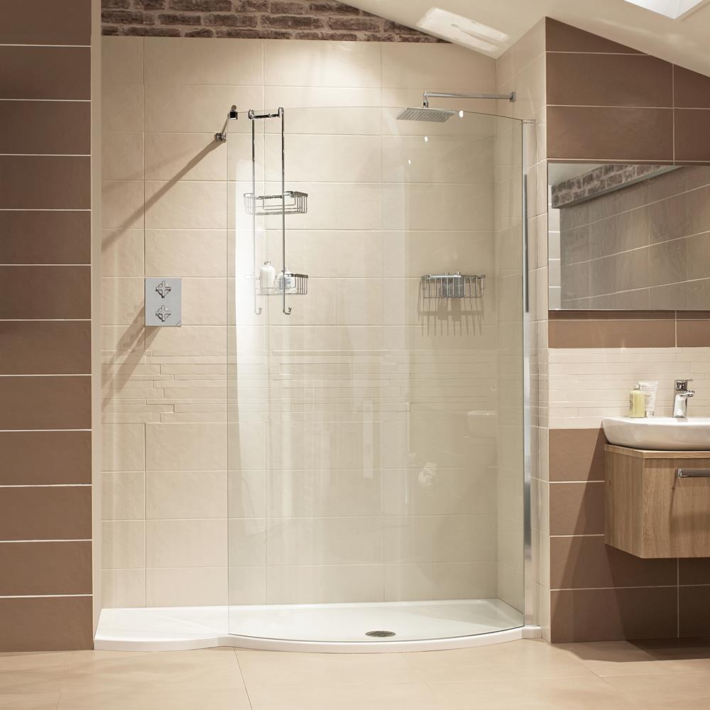 Half Enclosed Walk in Shower with Brown Tiles