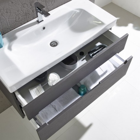 White Sink with Double Grey Draws