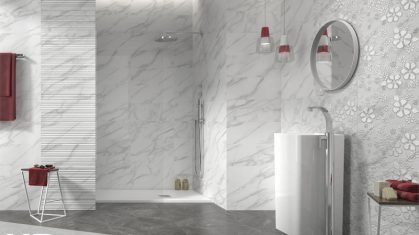 White Marble Style Bathroom with Sink and Walk in Shower