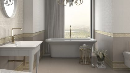 Classic Style Bathroom with White Sink and Bath