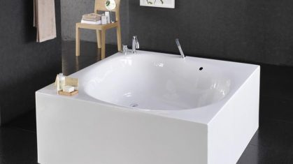 Square Bathtub in Open Bathroom