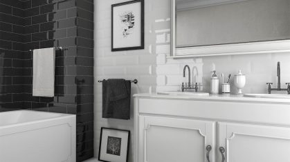 White and Black Classic Style Bathroom