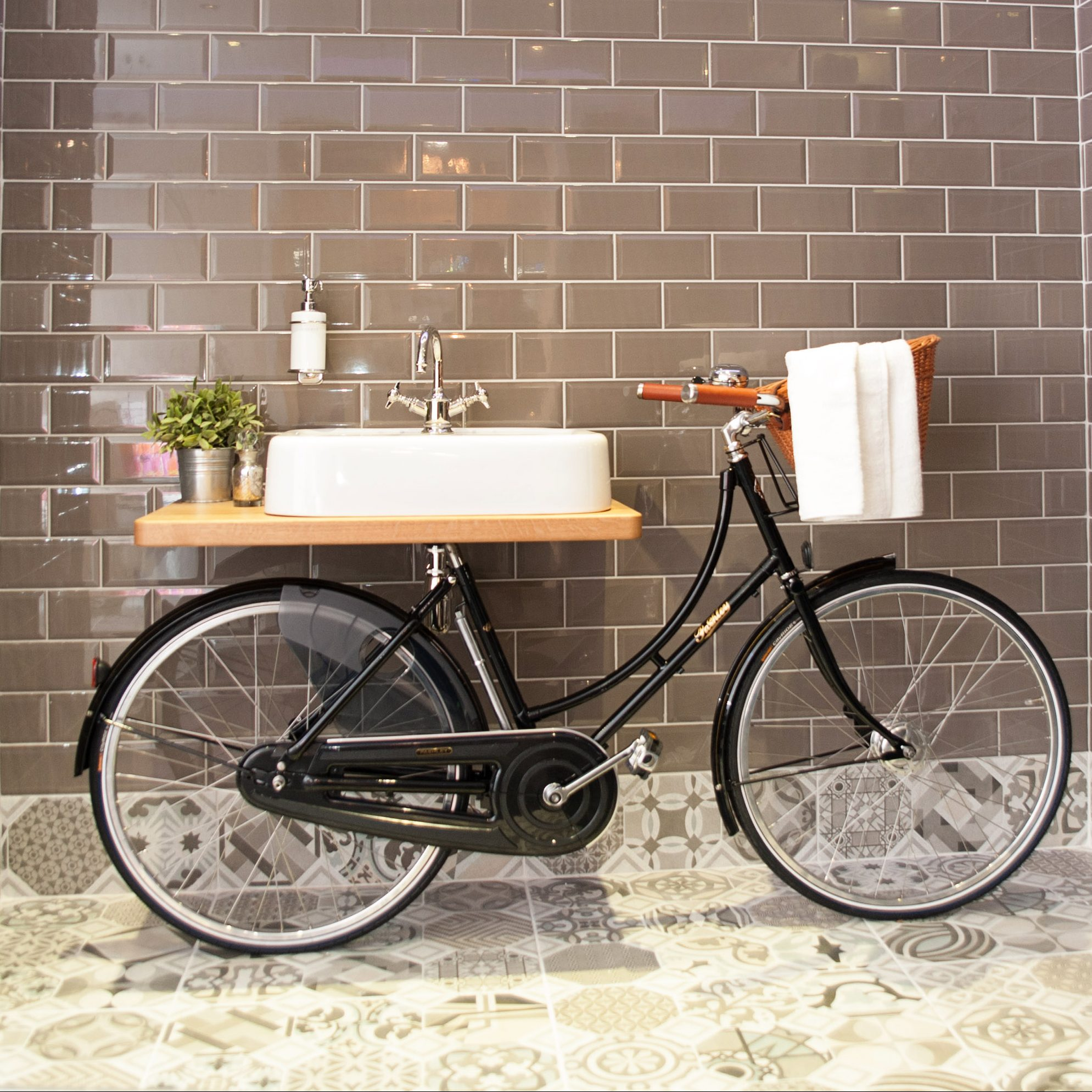 Black Bike Supported White Sink