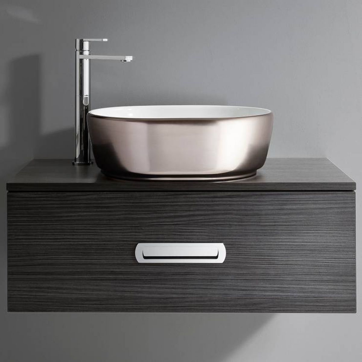 Metal Sink on a Dark Grey Draw