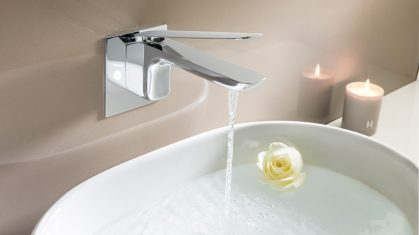 Wall Mounted Tap with White Round Sink