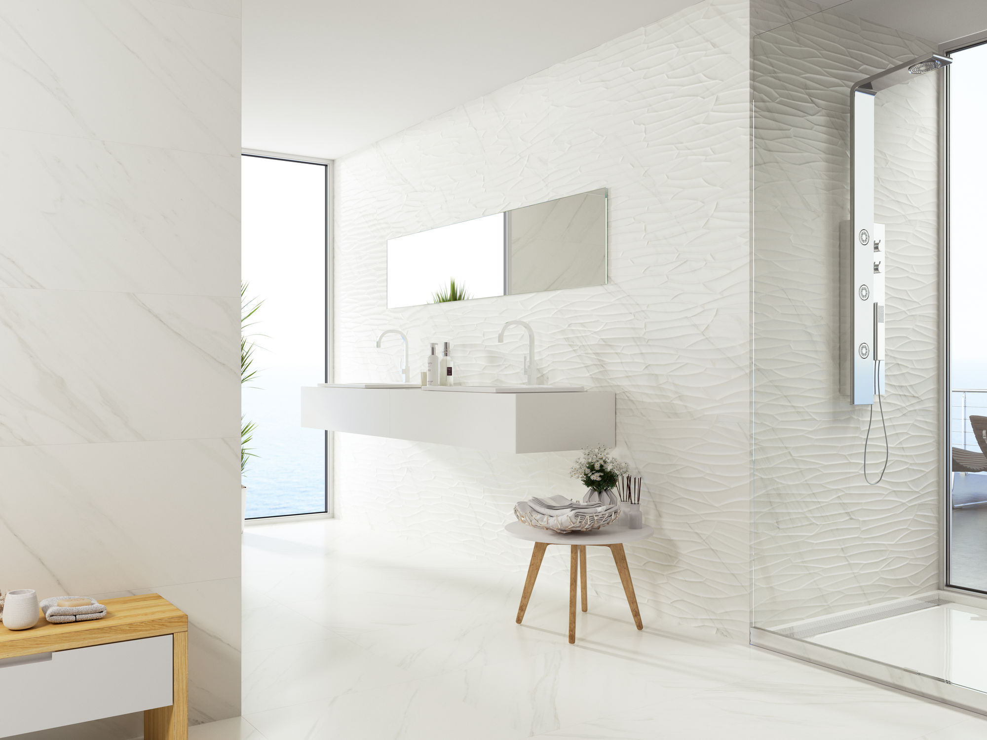 Cream Bathroom Walls and Floor with Large View Windows