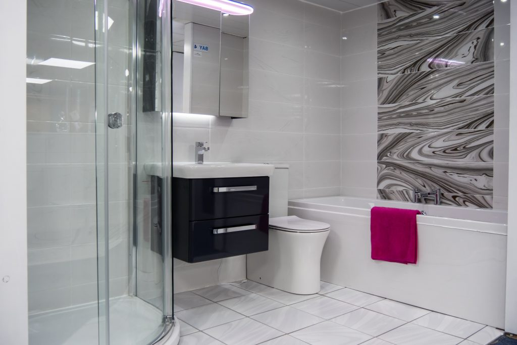 White Bathroom with Separate Shower and Bath