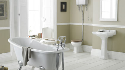 Free Standing White Bath in Open Plan Bathroom