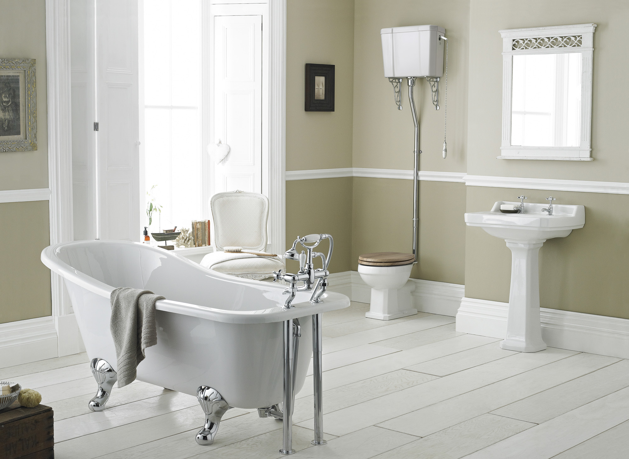 White bath in bathroom
