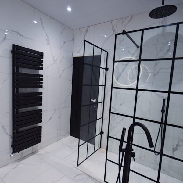 Black and White Bathroom with Walk In Shower